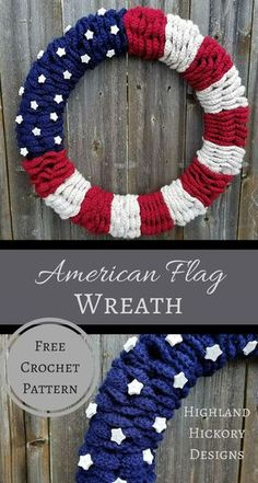 Crochet the American Flag Wreath. This is a beginner level pattern with some minor sewing. Crochet the American Flag Wreath. This is a beginner level pattern with some minor sewing. Holiday Crochet, Crochet Home, Crochet Gifts, Easy Crochet, Free Crochet, Beginner Crochet, Crochet Stars, Modern Crochet, Crochet Things