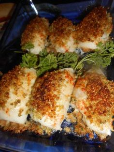Crab Stuffed Fish I love this dish I got it off of the T.V years ago and I make it often. I normally use a whitefish of some sort. Tilapia or Flounder are my favorites. Flounder Recipes, Cod Fish Recipes, White Fish Recipes, Crab Meat Recipes, Tilapia Recipes, Fish Dinner, Seafood Dinner, Fish And Seafood, Gastronomia