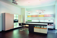 Two #Pirce suspensions above this kitchen work surface. #design Giuseppe Maurizio Scutellà