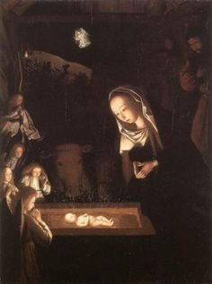 Beautiful painting depicting the birth of the Christ child and his role as the light of the world.