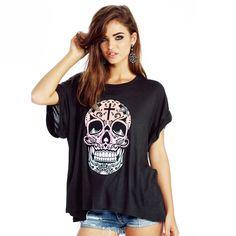 Women/'s Sacred Heart Catrina Black Spaghetti Strap Tank Top Skull Tattoo Tee