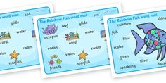 The Rainbow Fish Word Mat (Images) - The Rainbow Fish, Marcus Pfister, resources, Rainbow Fish, PSHE, PSE, octopus, shimmering scales, starfish, friendship, under the sea, sea, story, story book, story book resources, story sequencing, story resource