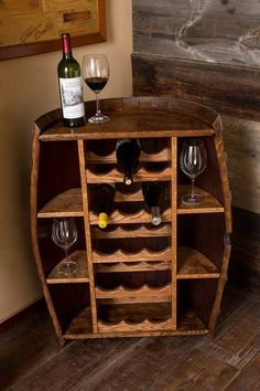 Wine Barrel Bottle Cabinet and storage wine rack - home furniture, wine rack Whisky Regal, Corner Bar Cabinet, Corner Wine Rack, Wine Barrel Furniture, Barrel Projects, Diy Casa, Wine Decor, Wine Cabinets, Wine Storage