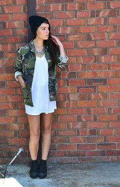 Blogger Bec looks fab in our camo jacket! Shop here >> http://www.boohoo.com/all-coats/sonya-camo-jackets-with-studs---metal-tip-collar/invt/azz59101 Visit her lookbook here >> http://lookbook.nu/beceldrup