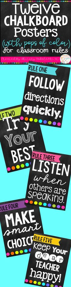 Display your classroom rules with a chalkboard theme with fun pops of color! Included are twelve different classroom rules with a black chalkboard background, white and neon lettering, and fun designs!Keywords: classroom décor, classroom rules, chalkboard theme, chalk classroom, , classroom management, class rules, rule posters, bright classroom, neons, neon classroom, printables, back to school, classroom inspiration