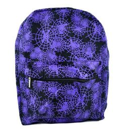 """Thick Canvas / Rugged Backpack. Purple Spider web Design over Black. A great addition to any look. Measurements: 18"""" H X 13"""" L X 6"""" W"""