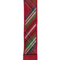 """1.5"""" Diagonal Plaid Ribbon: Red, Green, & Blue (10 Yards) Wreath Supplies, Red Green, Blue Yellow, Tiger Stripes, Wired Ribbon, Red Glitter, Plaid Pattern, Red Plaid, Red And White"""