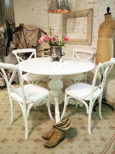 Painted Cottage Chic Shabby White French Farmhouse Chair