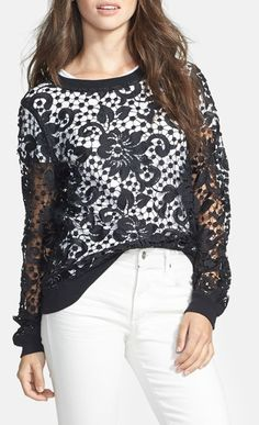 Embroidered Lace Pullover