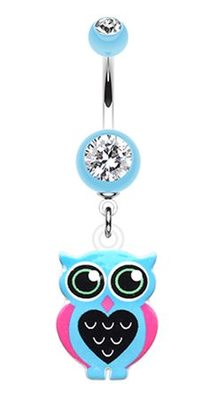 Owl Love Belly Button Ring - 14 GA (1.6mm) - Black - Sold Individually