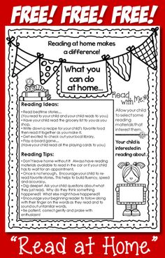 This one page flyer offers reading ideas and tips for how parents can incorporate reading into their child's daily routine at home. Letter To Parents, Parents As Teachers, Back To School Ideas For Teachers, Info Board, Parent Teacher Conferences, Parent Involvement Ideas, Parent Teacher Conference Forms, Reading Conference, Teacher Forms