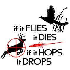 If flies it dies If it Hops it Drops
