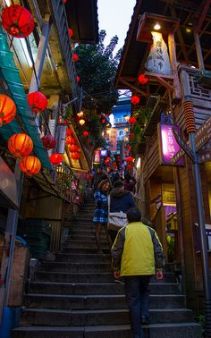 Streets of Jiufen 6 Beautiful Buildings, Beautiful Places, Beautiful Pictures, Cityscape Drawing, Cyberpunk City, Travel Posters, Asian Art, Scenery, Around The Worlds