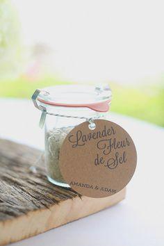 Lavender Fluer de sel wedding favors  http://www.weddingchicks.com/2013/12/11/seaside-wedding-2/