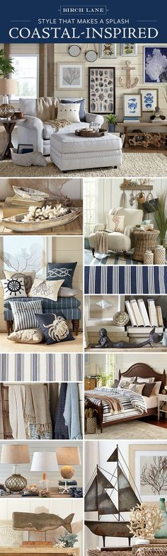 Whether you live steps from the beach or miles from the shore the Coastal look is within easy reach. Birch Lane's assortment of furniture wall art and decor offers the perfect mix of color texture and pattern to create your very own beach house. Beach Cottage Style, Coastal Cottage, Beach House Decor, Coastal Style, Coastal Living, Coastal Decor, Home Decor, Style At Home, Deco Marine