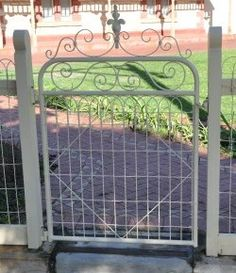 Beautiful heritage woven wire gate with scrolls by Farmweld, South Australia