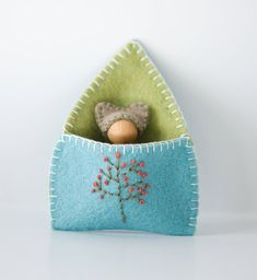 Waldorf Inspired Tiny Spring Mouse in Felt Pouch, Embroidered, Blue, Green, Brown, White, Wooden Peg Doll, Easter, Woodland