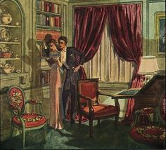 Pierre Brissaud illustration of Mrs. Samuel Barlow's library