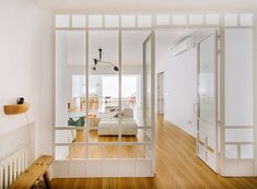Inspiring Modern Apartment in Madrid by Nimu Studio - InteriorZine Style At Home, Interior Windows, Glass Partition, Interior Design Studio, Home Living Room, Living Area, Home Renovation, Windows And Doors, New Homes