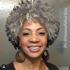 Natural african american gray hair