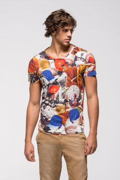 2014 - MAN Spring Summer COLLECTION - T-shirt with a multicoloured all-over print on the subject of baseball. #franklinandmarshall, #americancollegestyle.