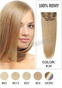 "15"" #24 Light Blonde 7pcs Straight Full Head Set Clip In Human Hair Extension [CHS0318]"