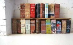 Have some bricks lying around? Give them a makeover as vintage books | 30 Totally Unique Ways To Decorate Your Home With Books