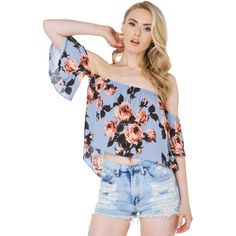 AKIRA Summer Love Off Shoulder Dusty Blue Floral Print Top ($21) ❤ liked on Polyvore
