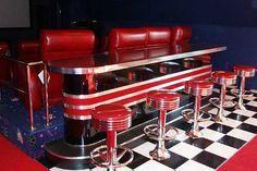 Retro Theater Home Bar: Chrome, Floor Mounted Bar Stools, Vintage Base Home Theater Basement, Home Theater Rooms, Home Theater Design, Basement Ideas, Basement Bars, Basement Renovations, Media Room Design, Game Room Design, Custom Home Bars