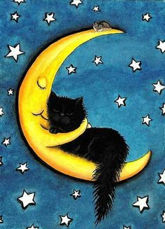 Sweetest of Dreams Moon Hugging Black Cat- Fine Art Print by AmyLyn Bihrle adorables funny graciosos hermosos salvajes tatuajes animales Crazy Cat Lady, Crazy Cats, I Love Cats, Cool Cats, Image Chat, Black Cat Art, Black Cats, Here Kitty Kitty, Sleepy Kitty