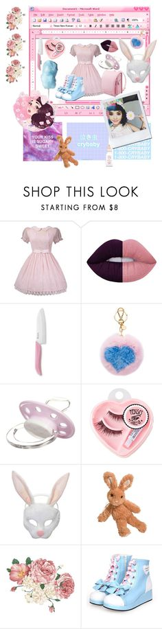 """melanie martinez"" by iiapocalypzeeii ❤ liked on Polyvore featuring GET LOST, Lime Crime, Kyocera, Miu Miu, Giorgio Armani, Medusa's Makeup and Forum"