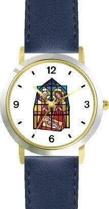 The Christ Child, Mary & Joseph (Stained Glass) No.1 Christian Theme - WATCHBUDDY® DELUXE TWO-TONE THEME WATCH - Arabic Numbers - Blue Leather Strap-Children's Size-Small ( Boy's Size & Girl's Size ) WatchBuddy. $49.95. Save 38%!