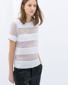 ZARA - WOMAN - STRIPED POPLIN ORGANZA TOP