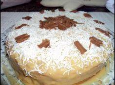 Receita de Bolo de Coco Com Gotas de Chocolate... - Massa:, 1 pacote de massa de bolo sabor coco, 200ml de leite de coco, 1/2 barra de chocolate ao leite, Cobertura:, 1/2 lata de leite moça, 3 colheres de sopa de creme de leite, 100ml de leite de coco, Tempo de Preparo:, 1 hora e 30 minutos, Rendimento: 13 porções