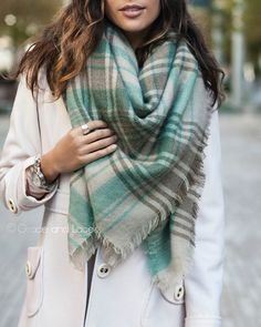 Grace and Lace - Blanket Scarf/Toggle Poncho in Mint/Grey