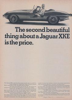 Items similar to 1968 Jaguar XKE Car Ad Convertible Photo Second Beautiful Thing Vintage Auto Advertisement Print Garage Wall Art Decor on Etsy Jaguar Sport, Jaguar E Type, Jaguar Cars, Retro Cars, Vintage Cars, Vintage Auto, Vintage Iron, Car Advertising, Ads
