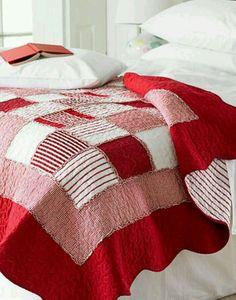 Très beau quilt rouge et blanc , idée à reprendre