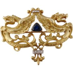 Antique Art Nouveau 18K Gold Sapphire Griffin Dragon Brooch Pin Pendant, c. 1910
