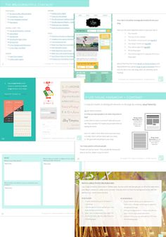 A sample of pages from the eBook, Blog Beautiful: 50 Tips + Fixes to Make Your Blog Glow. An easy to follow book for non-designers and female solopreneurs!