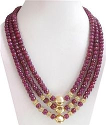 3 Strand Ruby Bead Necklace