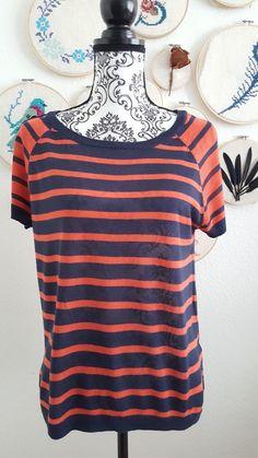 Feinstrick Oberteil gestreift in blau orange T-Shirt