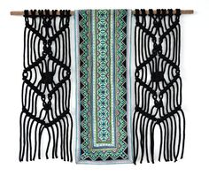 Modern Macrame Wallhanging made with ecofriendly cotton rope hand dyed.  The wall hanging contains a vintage hand embroidered fabric from Hmong