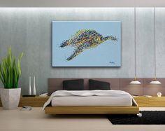 Shoreline Treasures Hand-Painted Beach Decor 358 Mosaic Sea Turtle Wall Decor