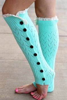 Mint Knitted Button Down Leg Warmer from NanaMacs Boutique. So cute with a boots or without. So soft too. (http://www.nanamacs.com/mint-knitted-button-down-leg-warmer/)