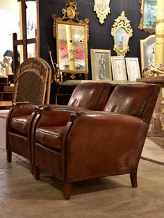Pair Of French Leather Club Chairs From The 1930u0027s With Stud Detail