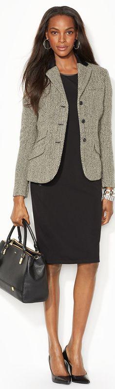 #Lauren by #Ralph Lauren Leather-Trim Wool-Blend Jacket Trendy Suits, Stylish Suit, Stylish Jackets, Blazers, Chanel, Professional Wardrobe, Office Looks, Madame, Work Attire
