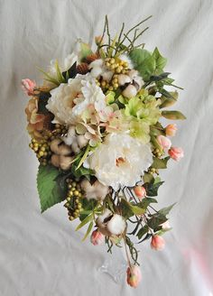Peony and Cotton   Wedding Bouquet,Cotton Bridal Bouquet//cream,white,peach,green//Cascade Silk Wedding Bouquet by LavenderBlueFloral on Etsy
