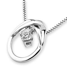 18K White Gold Loop On Loop 4 Prong Diamond Solitaire Necklace $720 With Free Shipping