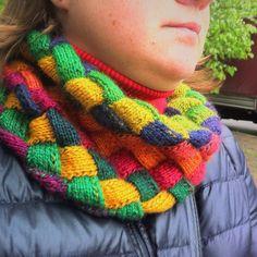 My Entrelac Rainbow cowl  #entrelac #cowl #knit