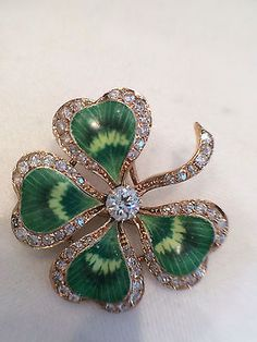 ANTIQUE 14K YELLOW GOLD ENAMEL/ DIAMOND FOUR LEAF CLOVER BROOCH /PENDANT